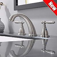 PHIESTINA Solid Brass Brushed Nickel Two Handle Widespread Bathroom Sink Faucet, Brushed Nickel 2 Handles Widespread Bathroom Faucet With Stainless Steel Pop Up Drain, WF008-4-BN