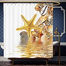 Wanranhome Custom-made shower curtain Seashells Decor Set Shells And Starfish Reflection On Water Golden Color Wellness Spa Natural Clear Beach Theme For Bathroom Decoration 72 x 84 inches