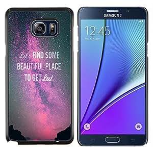 Encuentra Hermosa Purple Sky Vía Láctea texto- Metal de aluminio y de plástico duro Caja del teléfono - Negro - Samsung Galaxy Note5 / N920