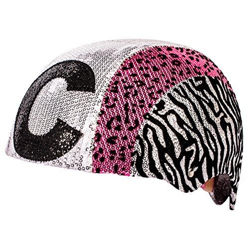 Raskullz Glam Gear C Kids Bike Helmet Silver Sequins Zebra Pink Leopard Print for Cycling, One Size ()