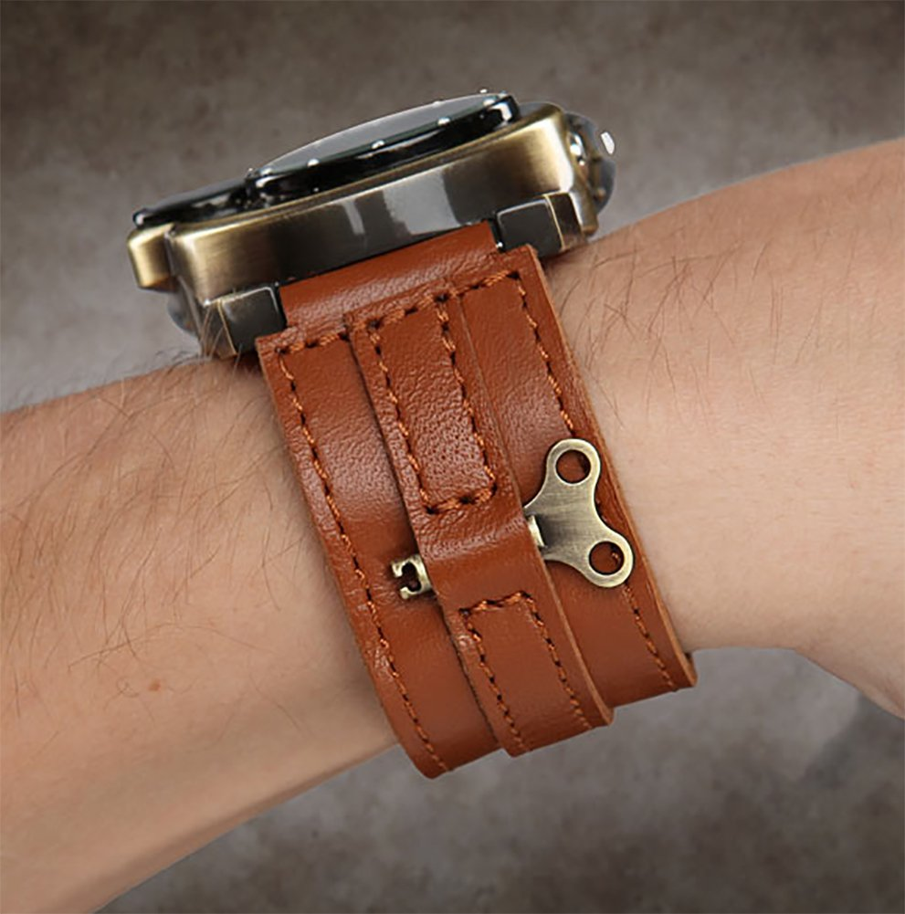 ThinkGeek Steampunk-Styled Tesla Analog Watch Weathered-Brass Look on Metal Findings Plus Leather Strap 5
