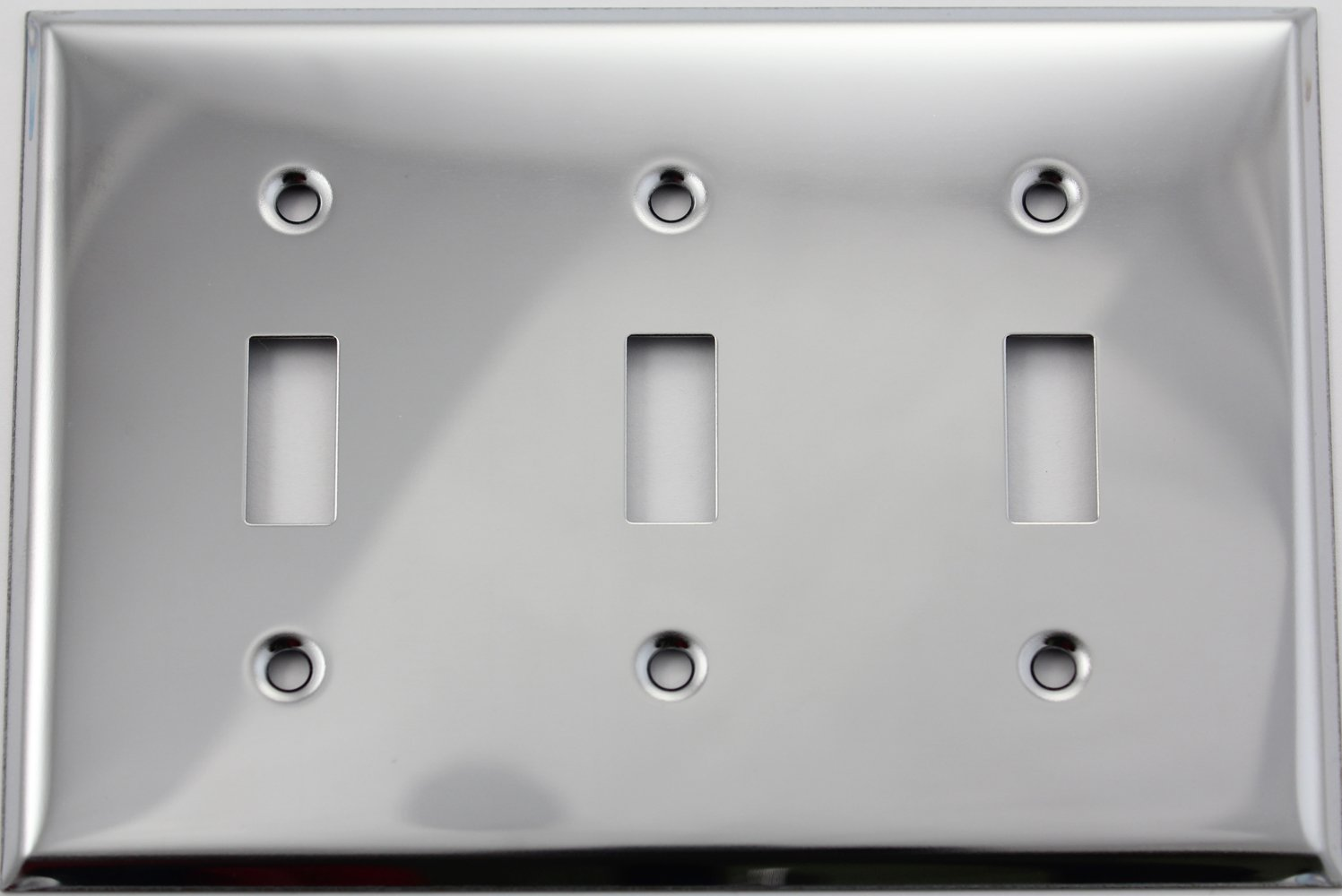 Stainless Steel 3 Gang Wall Plate - 3 Toggle Switches