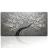 Desihum - Modern Canvas Paintings Texture Palette Knife White Flowers Paintings Home Decor Wall Art 3D Flowers Wall Decoration Abstract Painting Wood Inside Framed Ready to Hang(24''x48'')