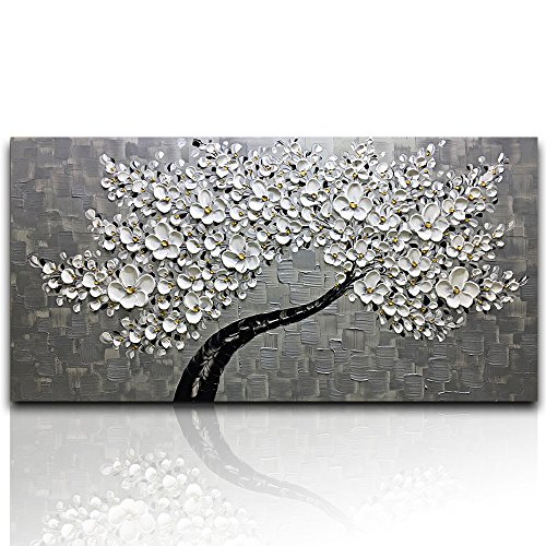 Desihum - Modern Canvas Paintings Texture Palette Knife White Flowers Paintings Home Decor Wall Art 3D Flowers Wall Decoration Abstract Painting Wood Inside Framed Ready to Hang(24''x48'') by Desihum