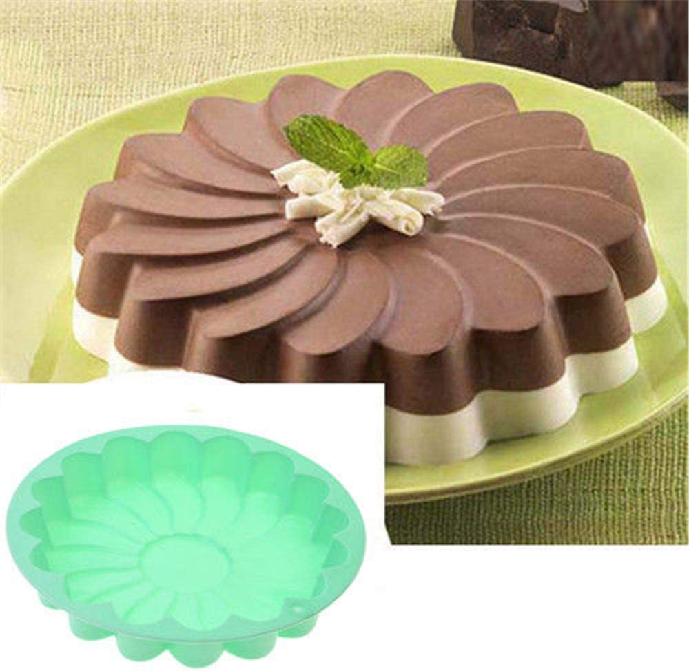 Silicone Large Cake Mold 23 CM/9 Inch Flower Shaped Round Nonstick Baking Pan Brownie/Cheesecake/Tart/Pie/Flan/Bread Baking Tray by EORTA for Birthday, Anniversary, Party, Random Color