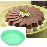 Silicone Large Cake Mold 23 cm/9 Inch Flower Shaped Round Nonstick Baking Pan Brownie/Cheesecake/Tart/Pie/Flan/Bread…