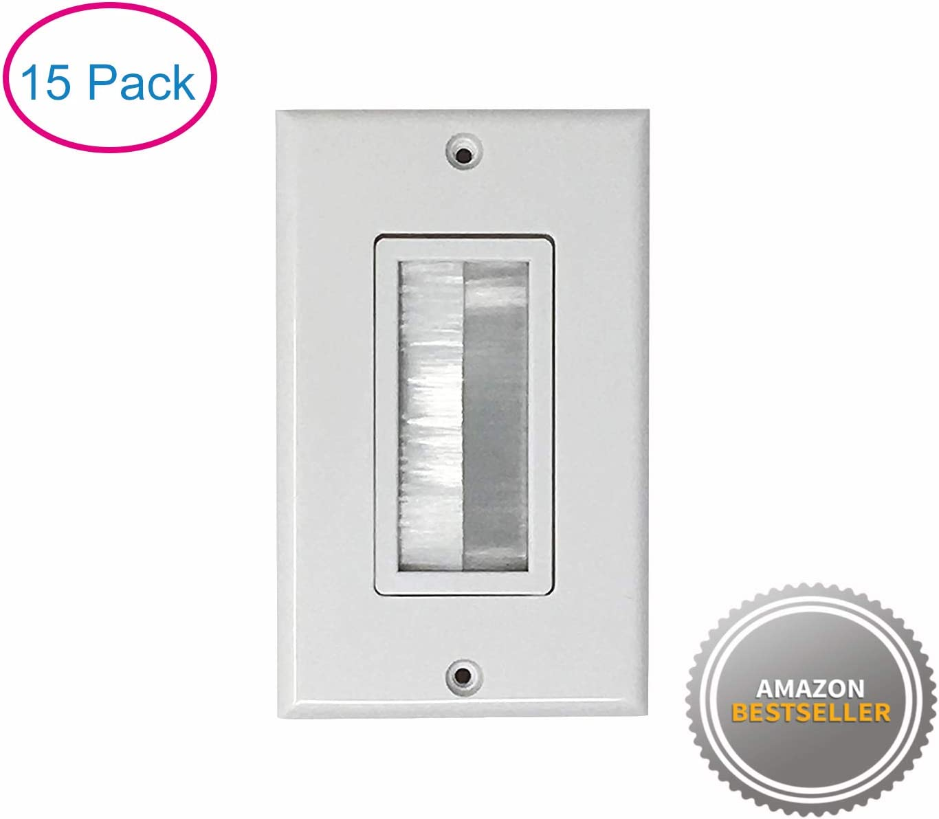 5 Pack Cable Pass Through Kenuco Single Brush Wall Plate White | Decorative Wall Plate