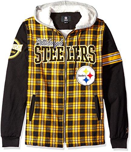 FOCO Pittsburgh Steelers Flannel Hooded Jacket - Mens Double Extra (Pittsburgh Steelers Mens Jackets)