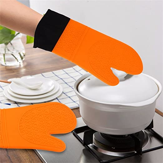 Lqchl Práctico Microondas guantes de silicona antideslizante ...