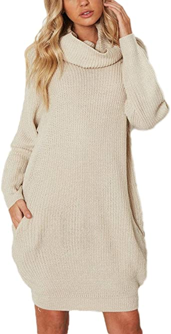 Femme Loose Manches Longues Robe en Tricot Long Col Roulé Chandail Pull Sweater Tops