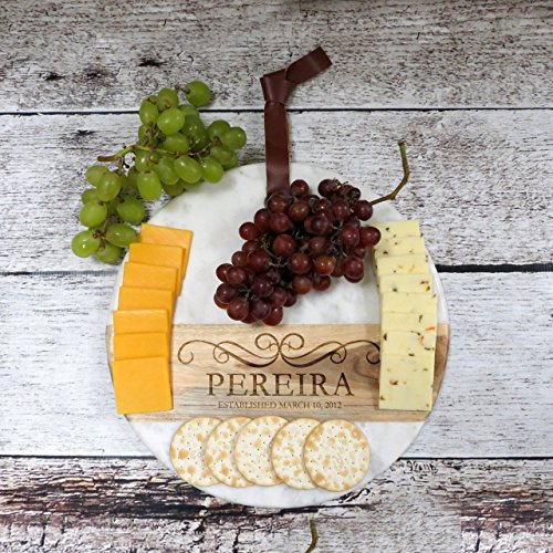 Personalized Cutting board and Serving Platter- Marble and Acacia Wood - Kitchen Gift - Housewarming - Home Decor- Wedding - Anniversary