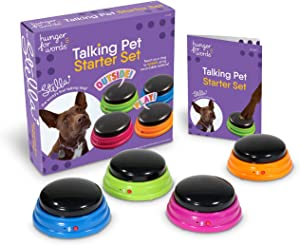 Hunger for Words Talking Pet Starter Set, Recordable Buttons for Dogs, Talking Dog Buttons, Teach Your Dog to Talk, Multicolor