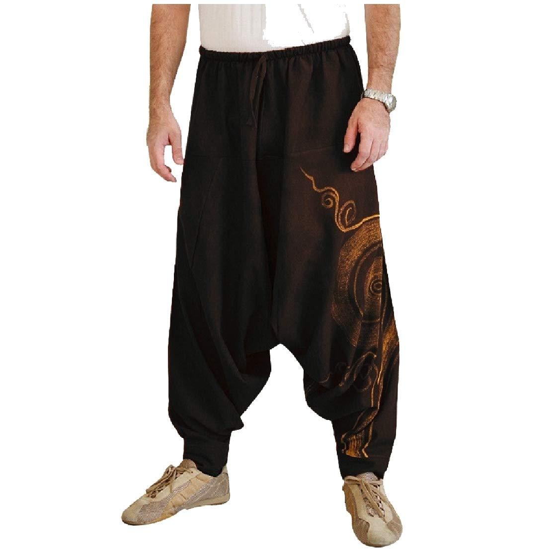 YUNY Mens Hip Hop Loose Floral Tribal Oversize Harem Casual Pants Black M