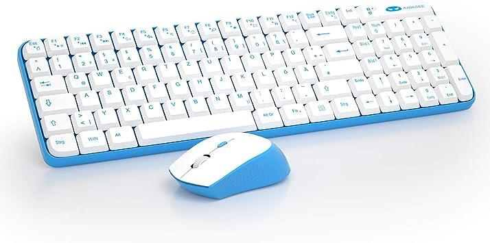 Juego de teclado y mouse inalámbricos para juegos, combinación de teclado y mouse V610 de bajo consumo de energía para computadora portátil PC [azul ...