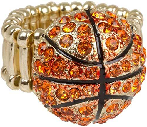 Heirloom Finds Orange Crystal Bling Basketball Stretch Ring - Fits Most Women!