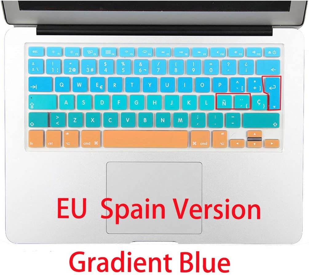 Rainbow Gradient Euro Spanish Silicone Keyboard Cover Skin Stickers for MacBook Air Pro 13 15 17 for Mac 21.5 27 Wireless Keyboard,Spanish Color