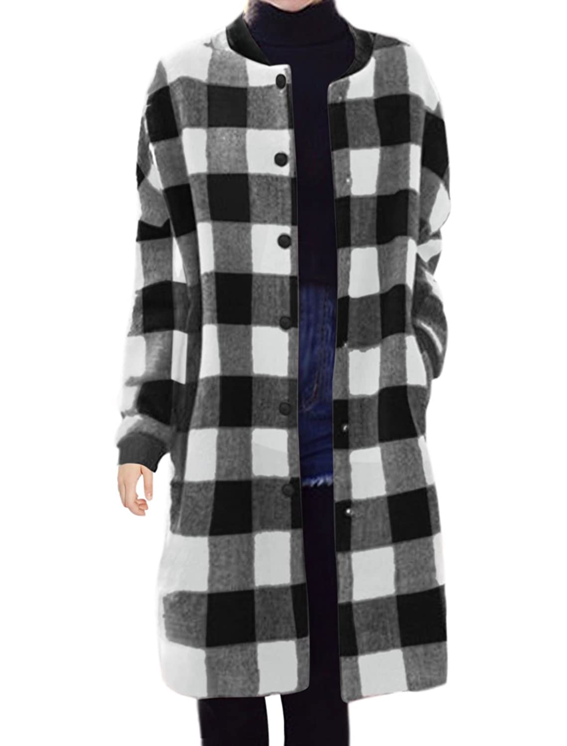 Lady Checks Long Sleeves Slant Pocket Knee Length Worsted Coat