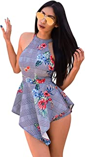 Sprifloral Womens Summer Casual Short Jumpsuits Sleeveless Backless Tank Top Short Rompers