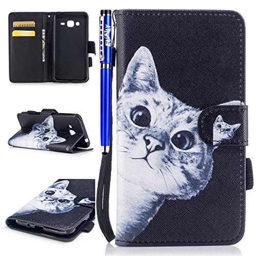 EUWLY Samsung Galaxy J3 2015 /J3 2016 leather Wallet Case Cover with Sunflower Embossing and Hand Strap Lanyard PU Leather Folio Flip Bookstyle Wallet Protective Sleeve Case for Samsung Galaxy J3 2015 Pattern #2 rLlSMGu