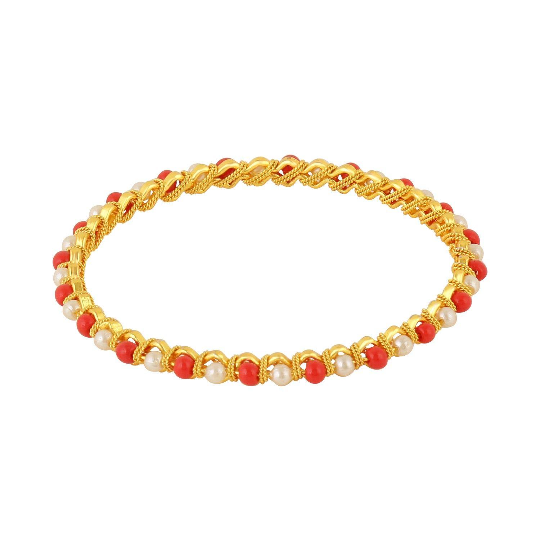 Efulgenz Fashion Jewelry Indian Bollywood 14 K Gold Plated Faux Pearl Coral Bead Bracelet Bridal Bangle Set