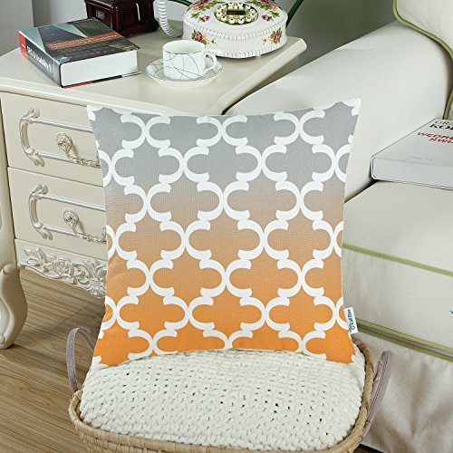 Pack of 2 CaliTime Canvas Throw Pillow Covers Cases for Couch Sofa Home Decor, Modern Gradient Quatrefoil Accent Geometric, 18 X 18 Inches, Gray/Orange