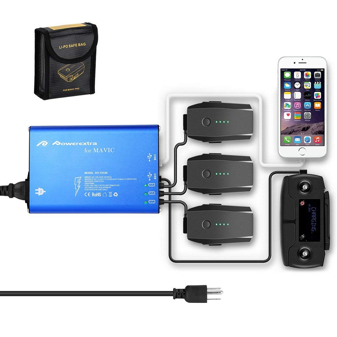 Powerextra Mavic Pro & Platinum & Alpine White 176W 5 in 1 Rapid Intelligent Multi Battery Charger Hub (Charge 3 Batteries & 2 USB Ports) + Mavic Pro Battery Safe Bag (Not Fit for Mavic 2)