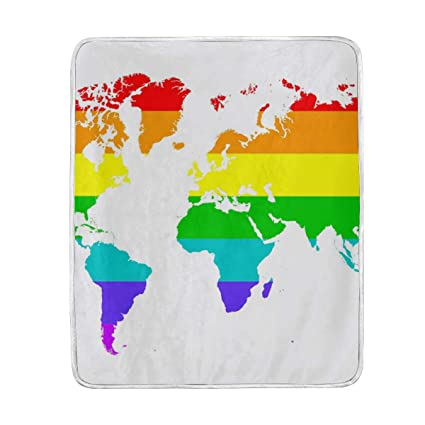 Amazon Com Cutexl Throw Blanket Colorful Rainbow World Map Warm