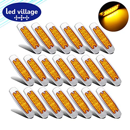 """(20 Pcs LedVillage 6.4"""" Amber LED Side Marker Clearance Lamp Great Replacement Heavy Truck Lighting 12 Diodes Peterbilt Freightliner Trailer Truck Lorry SUV Coach Surface Mount 12V DC Waterproof BB12)"""