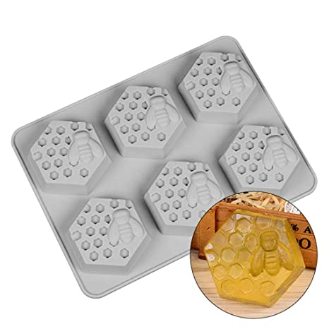 6 Cavity Bee Honey Shape Silicone Soap Mold Handmade DIY Craft Art Accessories