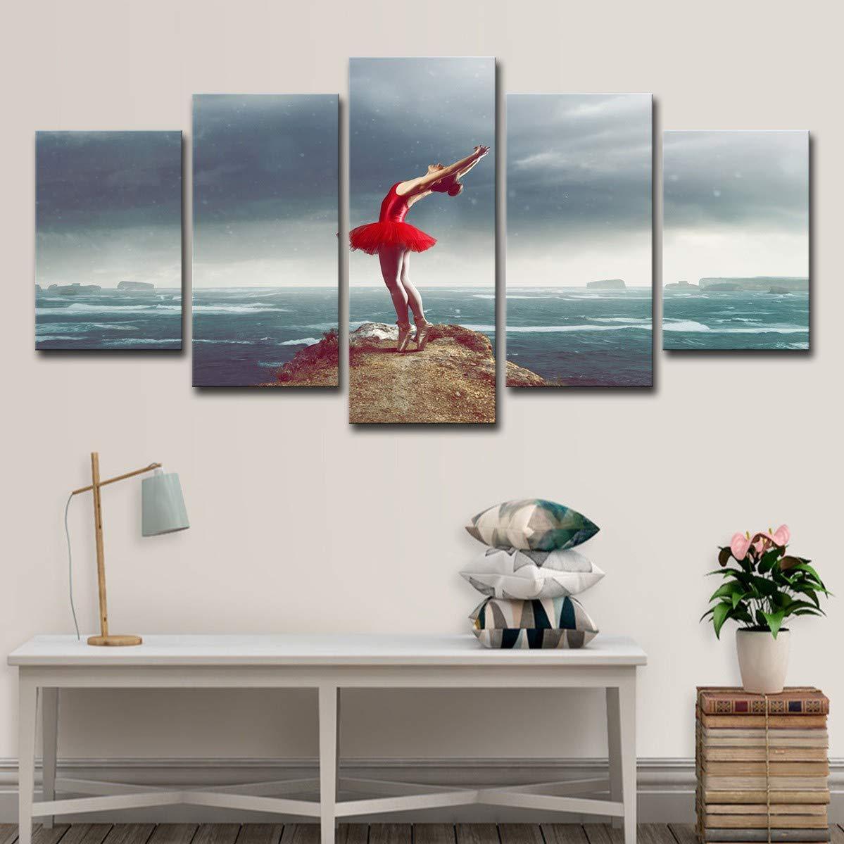 DYDONGWL Multi Panel Lienzo HD Imprime Sala Imágenes para Arte de la Pared de la Sala Imprime 5 Piezas Pinturas Bailarina de Ballet Sala de Arte Sala de Estar Decoración del hogar, 20X35cmX2 20X45cmX2 20X55cm 4715ff