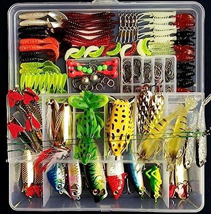 Amazon.com: Fishing Tackle Set,PortableFun Fishing Baits Kit Lots