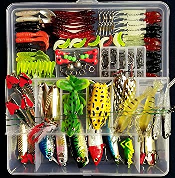 PortableFun Fishing Tackle Lots, Fishing Baits Kit Set with Free Tackle  Box,for Freshwater Trout Bass Salmon