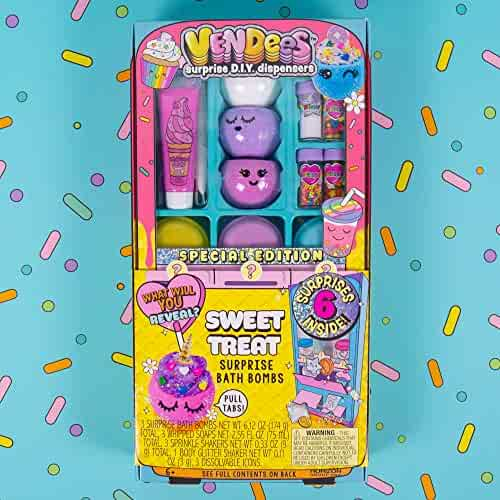 Vendees Sweet Treat Bath Bombs by Horizon Group USA, Create Colorful, Fizzing DIY Bath Bombs Using Glitter, Sprinkles & More.Use Your Surprise DIY Dispenser to Revel Surprises & More.Multicolored