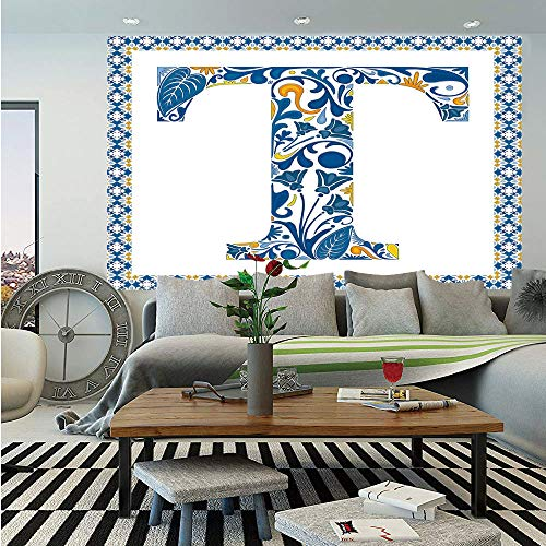 Letter T Huge Photo Wall Mural,Ornate Retro Portuguese Art Flowery Borders and T Silhouette with Leaves Decorative,Self-adhesive Large Wallpaper for Home Decor 100x144 inches,Blue Yellow Orange