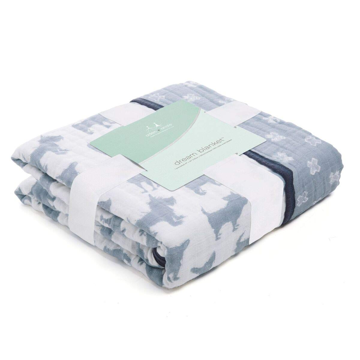 aden + anais Dream Blanket; 100% Cotton Muslin; 4 Layer Lightweight and Breathable; Large 47 X 47 inch; Waverly - Pup by aden + anais (Image #2)