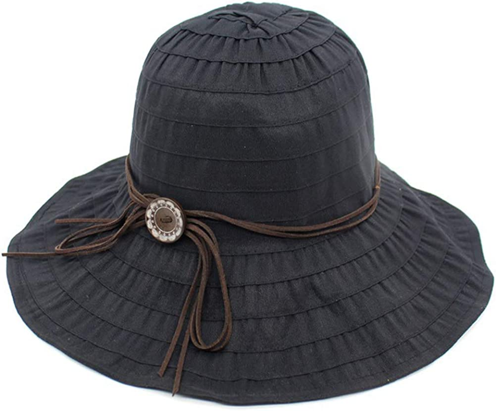 Creproly Cotton Women Foldable Wide Brim Summer Sun Hat Portable UV Protection Hats for Travel