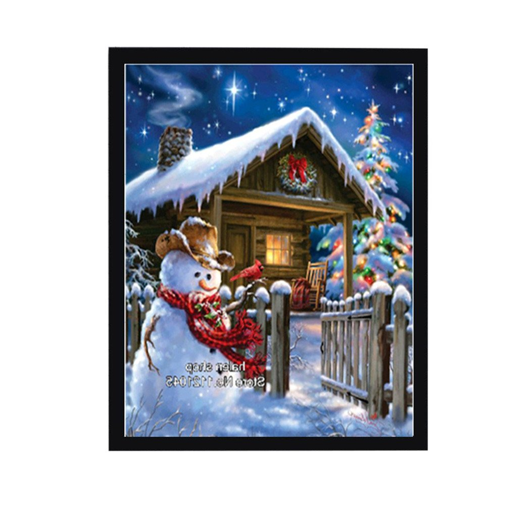 Wenini Christmas 5D DIY Diamond Painting Kits Rhinestone Embroidery Cross Stitch for Christmas Home Wall Decor, Snowman, 30X34CM (Christmas Snowman) 6972630553062GXG