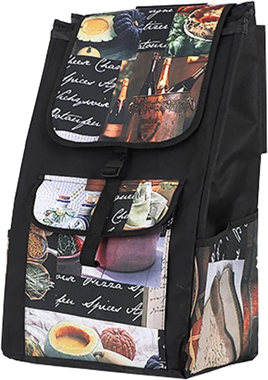 FOLDABLE 쇼핑 트롤리 라 접이식 식료품 쇼핑 카트 바구 대체 가방 | 옥스포드 피복한 방수 쇼핑백 양면 예비 부대 대용량 49L