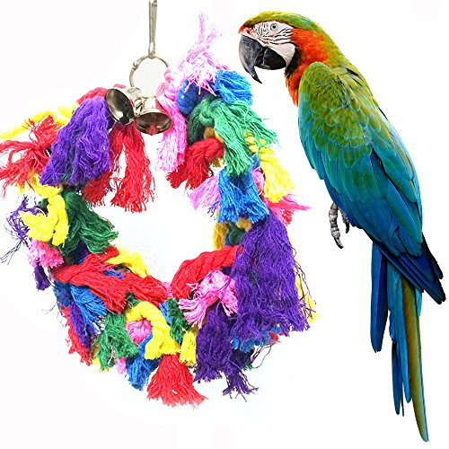Hisoul Bird Toys Cotton Preening Bells Ropes Rings Colorful Hanging Swing Pet Birds Toy, Fun Playing Interactive Smart Game Pet Toy, for Small Medium Birds (Random)