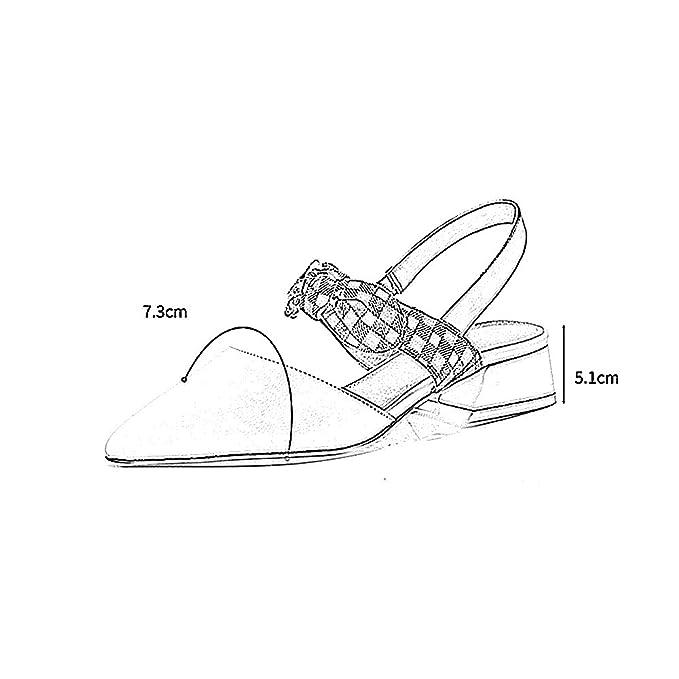 YQQ Zapatos Planos Zapatos De Mujer Sandalias Tacones Altos PU Zapatos Perezosos De Fondo Plano Zapatos De Boca Baja Puntiagudo Medio Talón Moda (Color ...