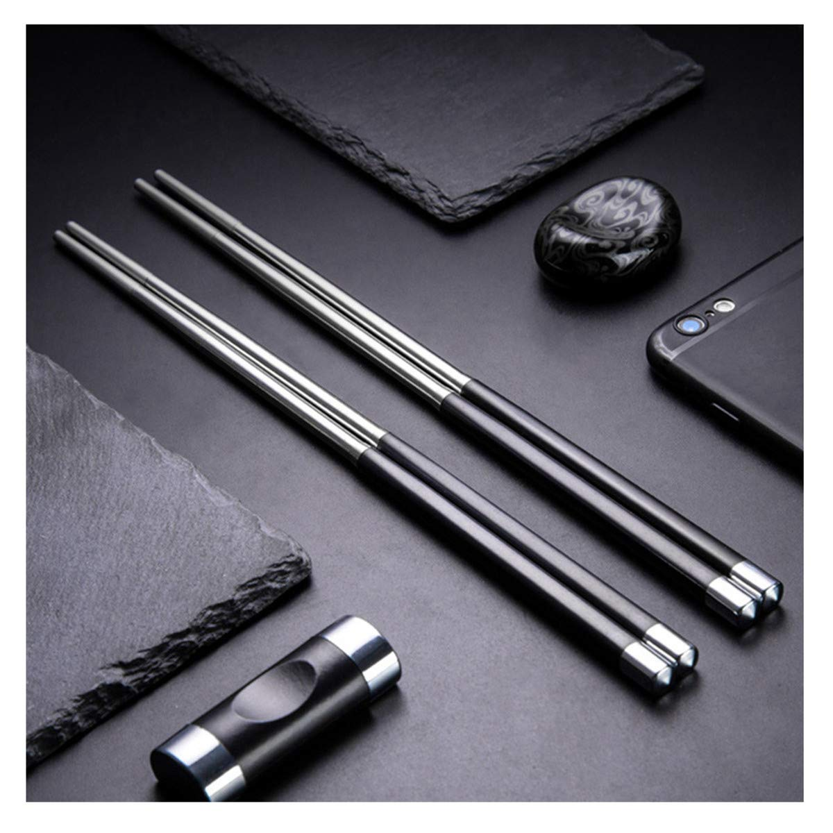 5 Pair Stainless Steel Chopsticks Gift Set Japanese Hotel Restaurant Chopsticks Set (Japan)