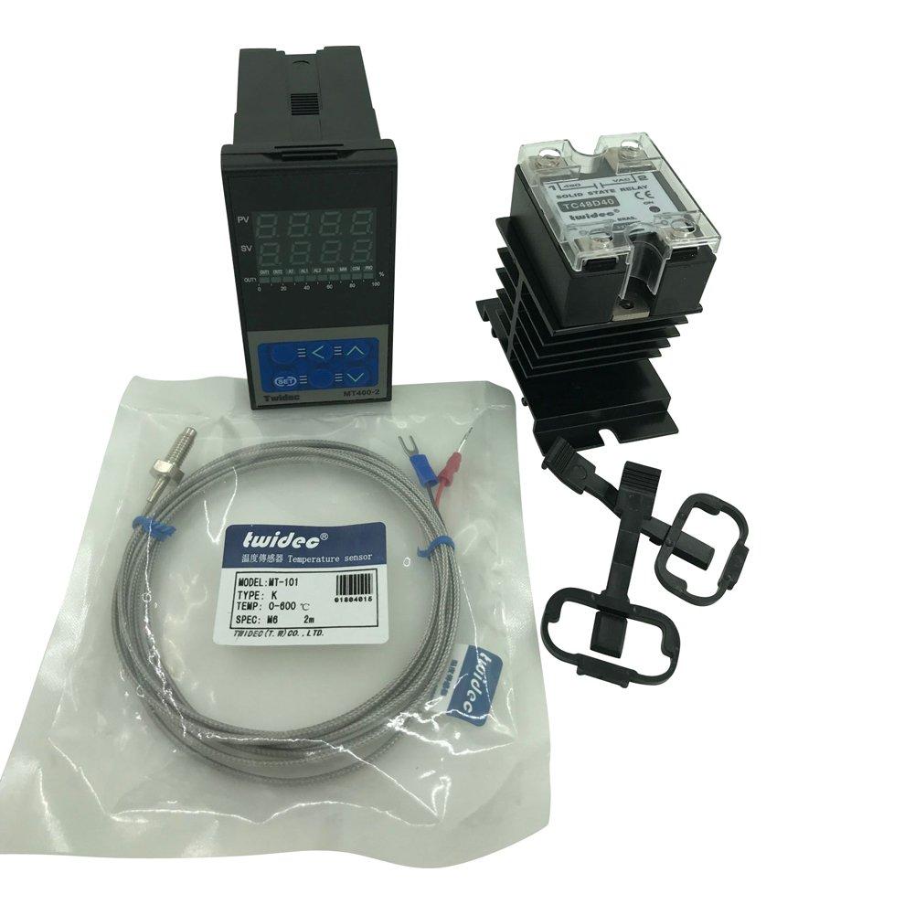 Twidec MT400-2 PID Temperature controller, 90-240VAC, 0-400 °C, Input: K, Output: SSR(DC12V);K screw probe, probe lead length 2M(78.74 inches);TC48D40 SSR 40A;Black heat sink