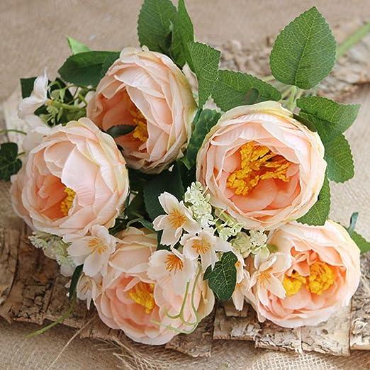 DFHCA Flor Artificial Nueva Peonía Flores Artificiales Decoración ...