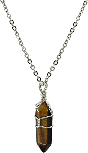 Paialco Jewelry Hand Wired Natural Crystal Healing Point Chakra Pendant Necklace 18