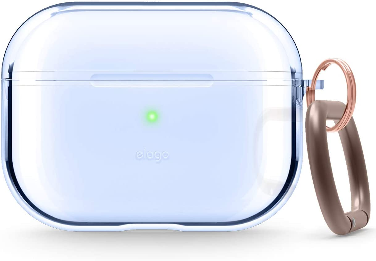 elago Clear Airpods Pro Case with Keychain Designed for Apple Airpods Pro - Gel Tape Included (Aqua Blue)