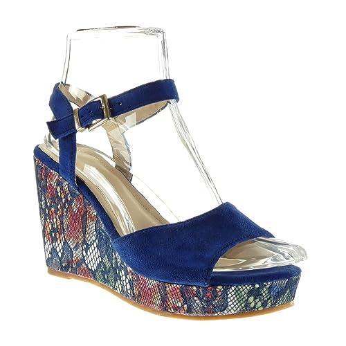 10 Brodé Fleurs Cm Cheville Fantaisie Sandale Plateforme Chaussure Compensé Mode Femme Angkorly Talon Lanière 34qAj5RL