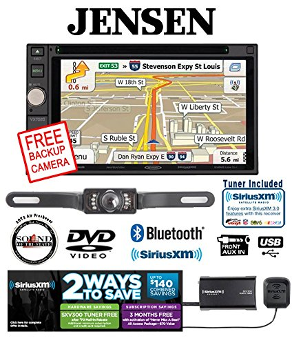 Jensen VX7020 6.2'' Navigation DVD Receiver with SiriusXM SXV300v1 Satellite Radio and SV-5130.IR Crime Stopper Backup Rear View Camera and a FREE SOTS Air Freshener by Jensen
