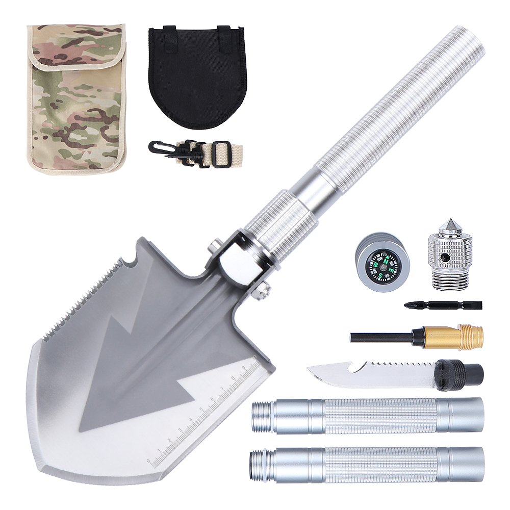 Anyoo Multi-Function Military Folding Camping Shovel Portable Compact with Carrying Pouch for Camping Hiking Backpacking Adventure by Anyoo (Image #1)