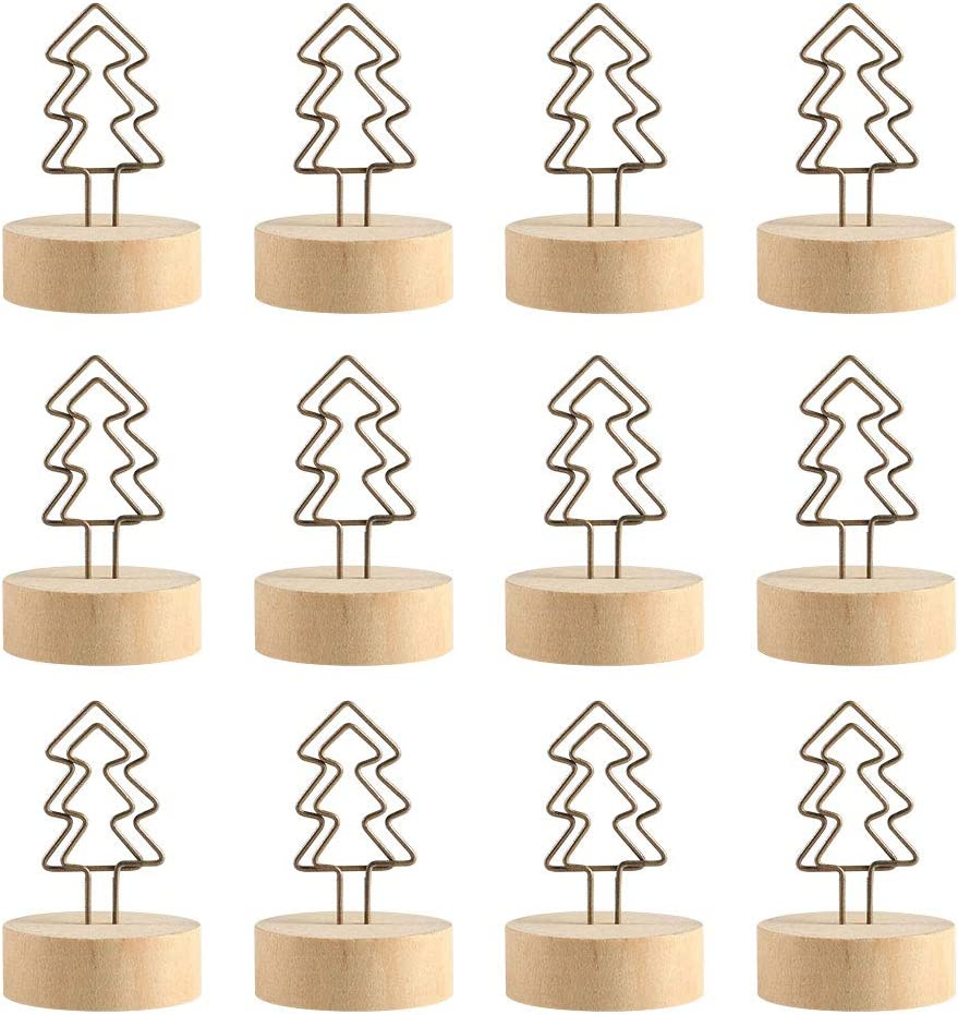 BUTEFO 12Packs Christmas Wood Place Card Holders with Christmas Tree Wire and 20Pcs Kraft Place Cards, Wooden Table Memo Photo Picture Number Sign Stands Holder for Party Wedding Table Decoration: Home & Kitchen