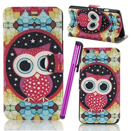 """BeeShine Retail Package Leather Flip Stand iPhone 6 4.7"""" Wallet Case Flap Pouch Cover Skin for Apple iPhone 6 4.7 inch + Screen Protector & Touch Stylus Pen (Cute Big Eye Owl Style)"""